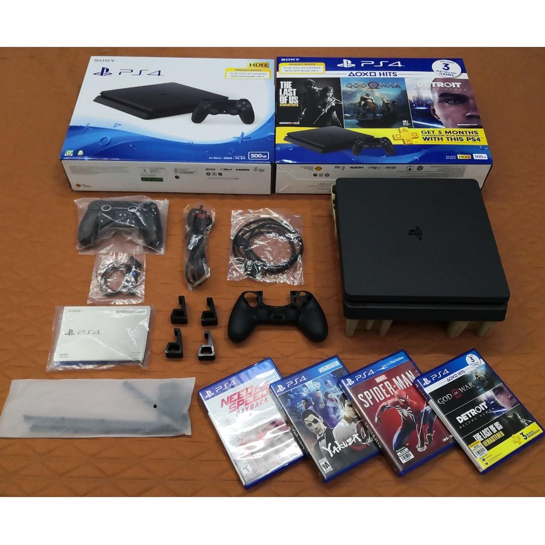 PS4 Slim 500GB HDR with warranty (with 5 games, freebies)