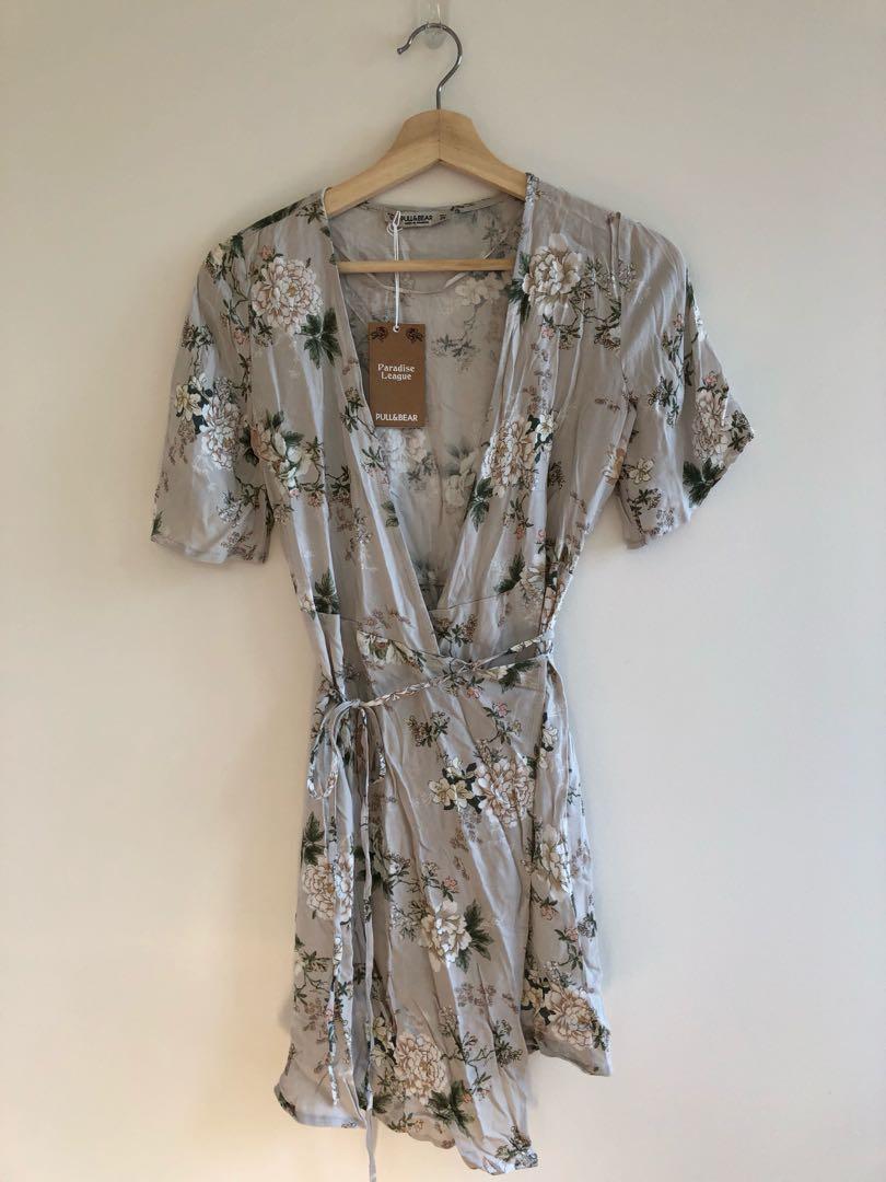 Pull&Bear floral wrap mini dress