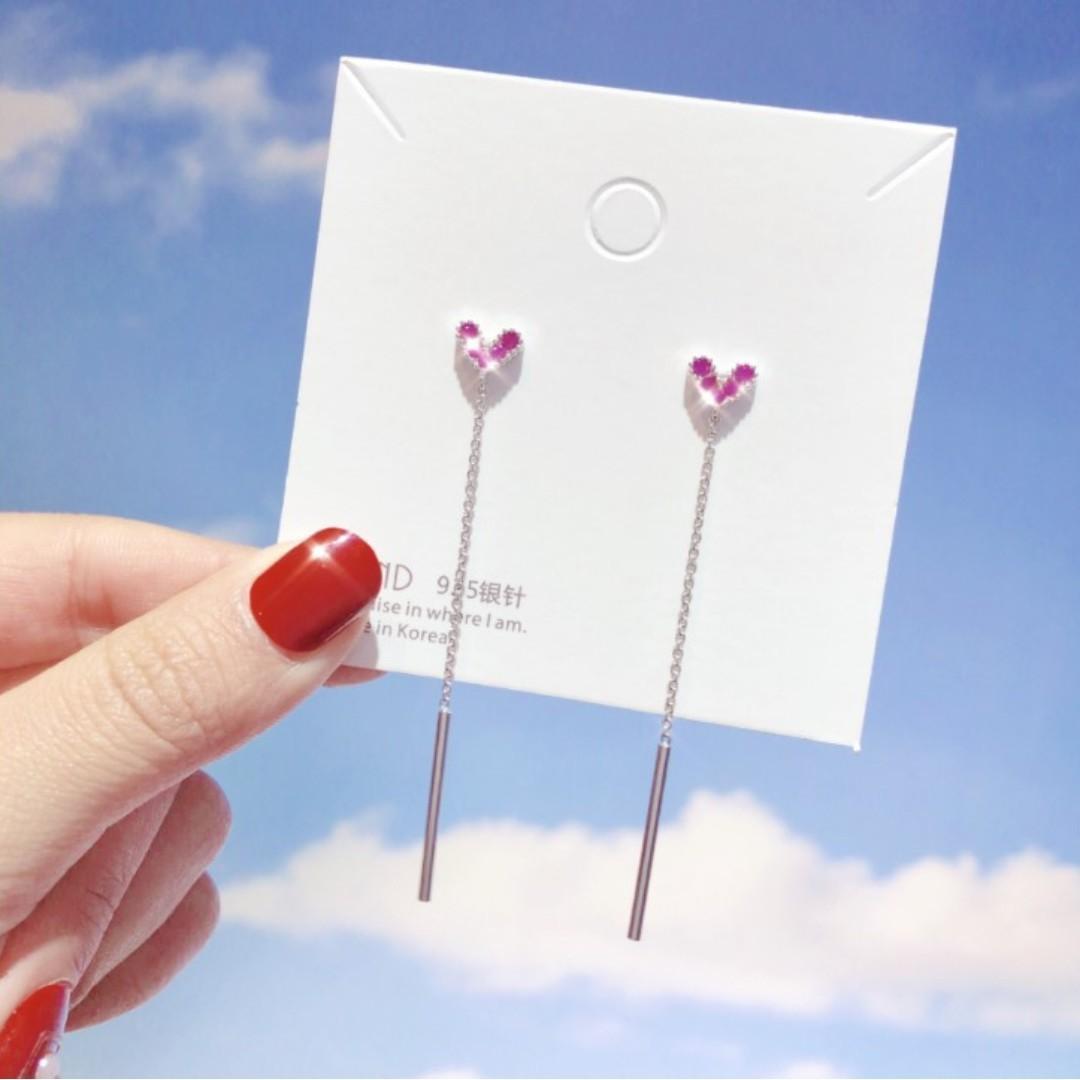 韓國東大門新款耳釘時尚桃心愛心百搭耳墜簡約少女心S925銀針耳環
