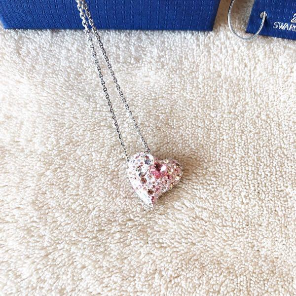 Swarovski Crystal pink heart pendant plus butterfly