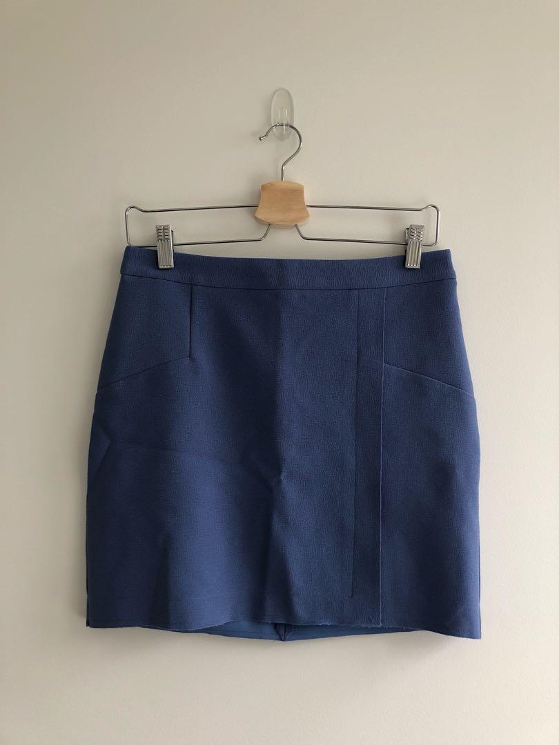Topshop blue raw edge wrap mini skirt