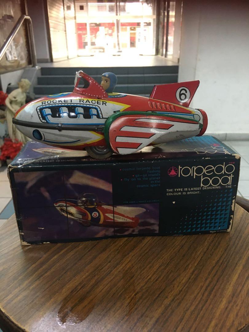 Vintage tin toy torpedo boat
