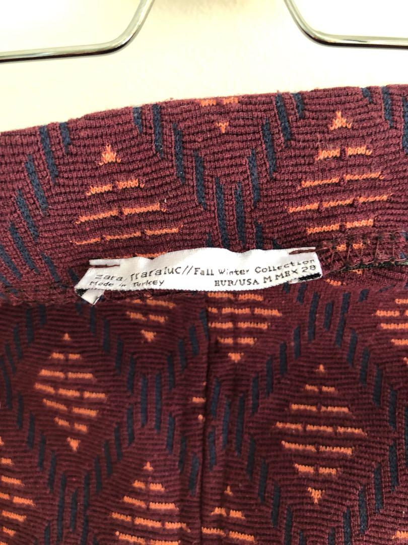 Zara burgundy print midi skirt