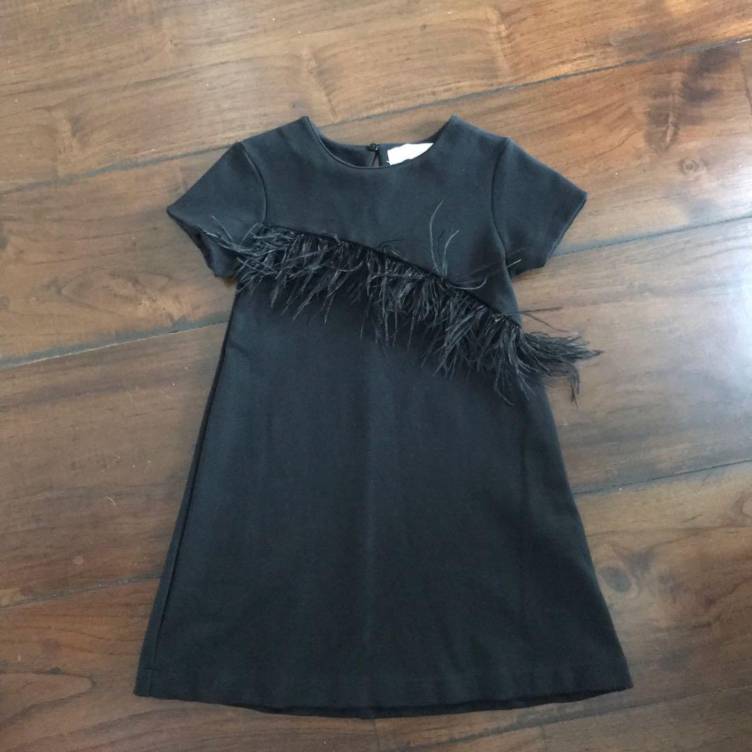 ZARA kids black dress aksen bulu sz 8