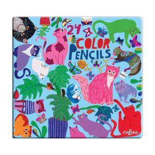 eeBoo 24色鉛筆(鐵盒) — 阿咪家族 (Cats at Work Color Pencils)