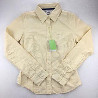 Paul smith 名牌 女生鵝黃色長袖休閒襯衫 L