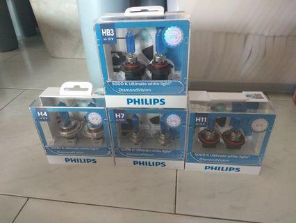 Genuine Philips Diamond Vision Headlight Bulb H4 H7 HB3 HB4 H11 not led hid