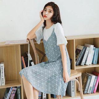 2019新款小清新 兩件式蕾絲細肩吊帶裙 洋裝-藍色 全新現貨