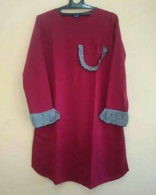 Atasan Tunik Warna Merah Fit to Size XL