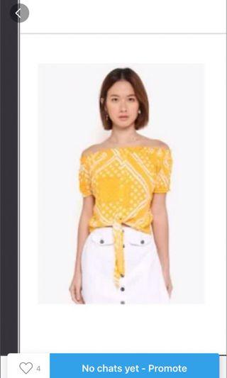 Cotton On Yellow Bandana Off Shoulder Top BNWT