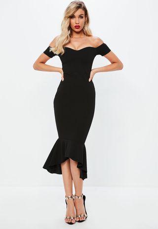 Missguided Bardot Fishtail Hem Midi Black Dress