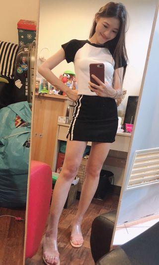 休閒套裝(上衣+邊條裙)