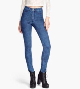 h&m navy blue denim skinny jeggings