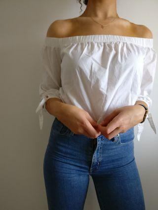 Shoulderless White Blouse, A&F, Size small