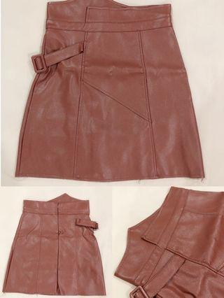 [ALL FOR RM15] Brown Leather A Line Skirt
