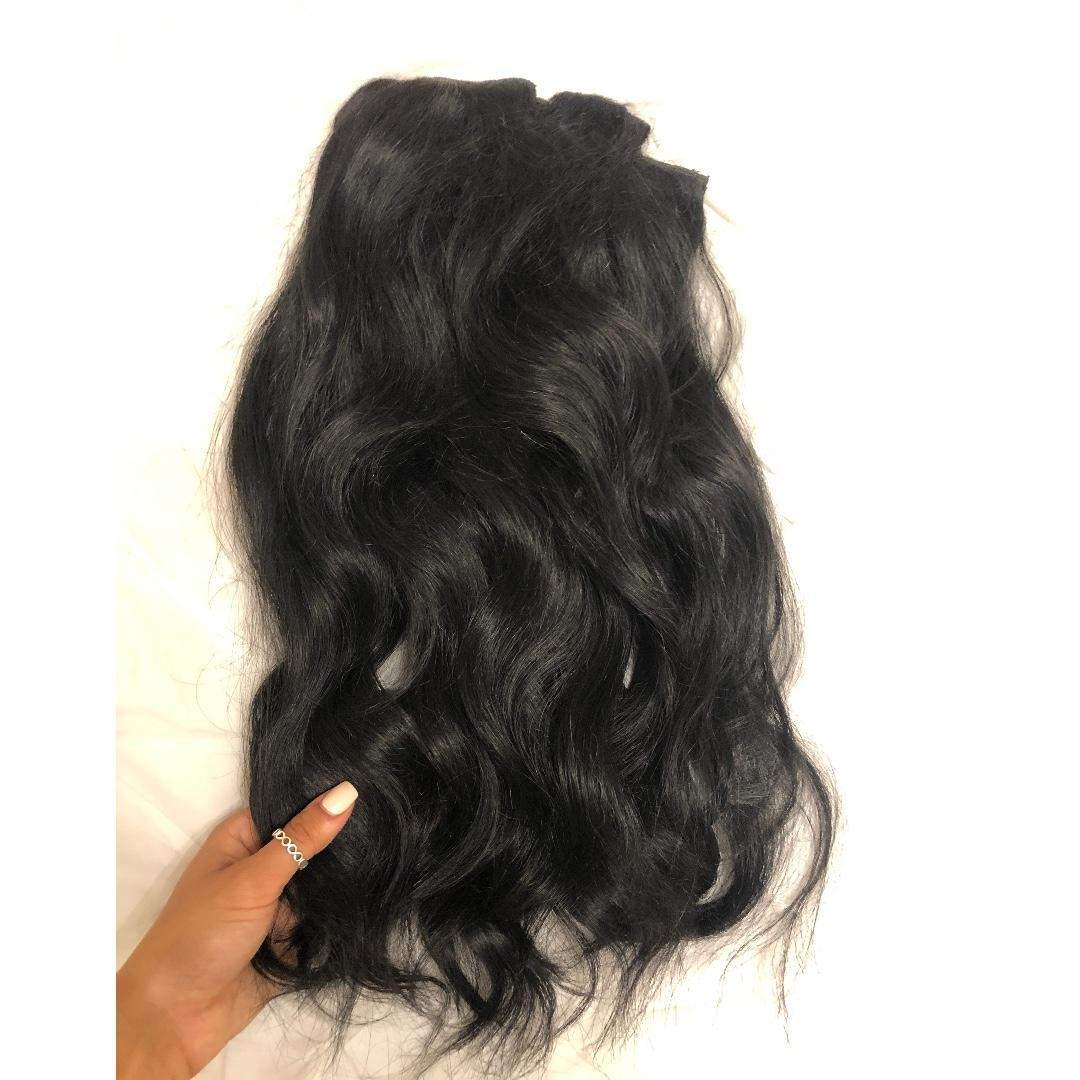 "10 PIECE BELLAMI 20"" VERY THICK JET BLACK HAIR EXTENSIONS SET! (ALMOST NEW)"