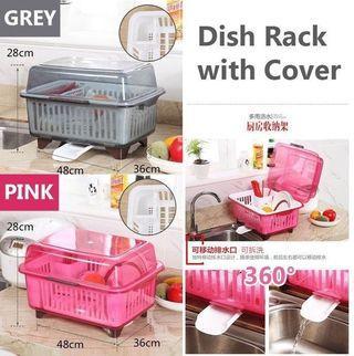 Dish Rack with Cover/ Rack pinggan + penutup