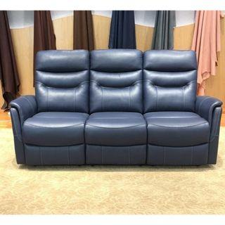 three seater power leather recliner in italian top grain