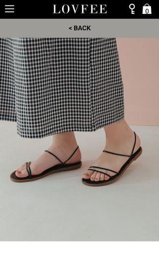 簡約細帶後勾平底涼鞋