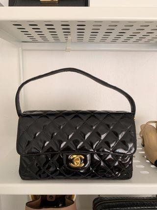 Chanel double sided quilted patent leather bag