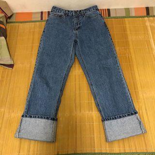 東區2143 韓製 水洗 挺料 大反摺 九分牛仔褲