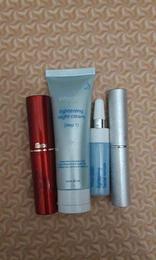 Take all (lipstik, cream n serum wardah. Lipstik fanbo)