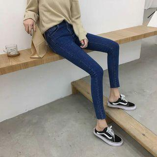 現貨-高腰深藍色牛仔褲女九分褲韓版顯瘦褲子女