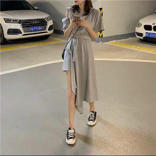 現貨-不規則設計感收腰連衣裙洋裝短袖高腰中長款過膝裙女