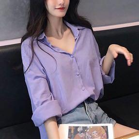 現貨-顯瘦慵懶紫色襯衫女夏寬鬆翻領純色襯衣中長款長袖薄防曬衣