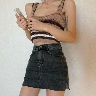 現貨-高腰彈力牛仔褲A字短褲裙女百搭復古黑灰色防走光褲裙