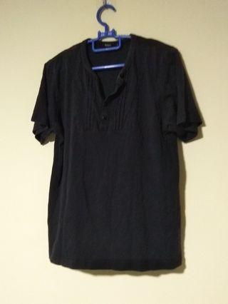 (Size S) Black Button Men's T-Shirt
