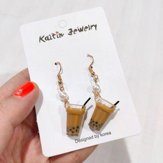 Boba milk tea earring