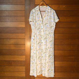 💋歐洲古著 保加利亞製歐洲古著長裙洋裝 復古老領子洋裝 短袖洋裝長裙 日本古著碎花長洋裝 修身洋裝
