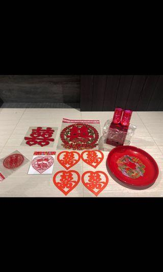 Chinese Wedding Stickers and Lamp