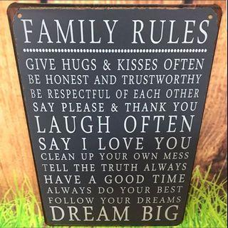 Metal plate tin signage- stylish family rules