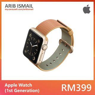 Apple Watch 42mm (1st Gen) / Gold Aluminium Case with Gold/Royal Blue Woven Nylon Band