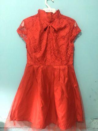 Dress Merah (Cheongsam Rok Tutu)