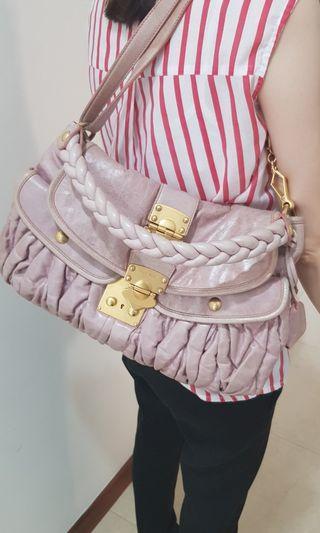 Miu Miu Pink Distressed Leather Coffer Bag