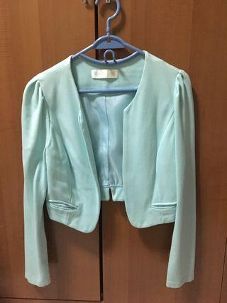 Mint Blazer Casual Crop