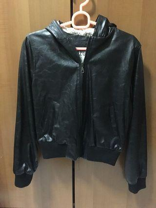Leather Jacket Black with Hoodie