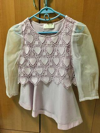 Lavender Heart Laced Top (sleeves are NOT yellow)