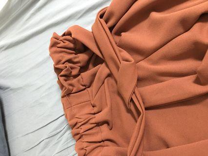 👽綁帶顯瘦楓葉色寬褲