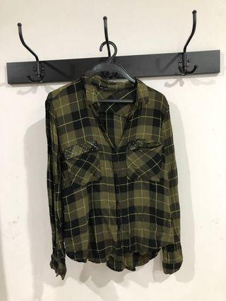 Zara Checked Shirt with Studded pockets
