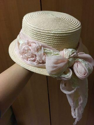 Straw Hat with Flower Scarf customised