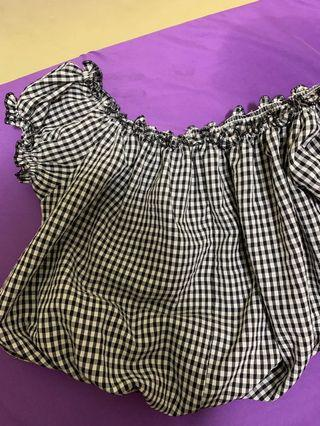 brandy black gingham off shoulder top