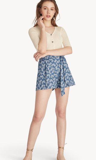 Pomelo High Waist Tied Paisley Shorts