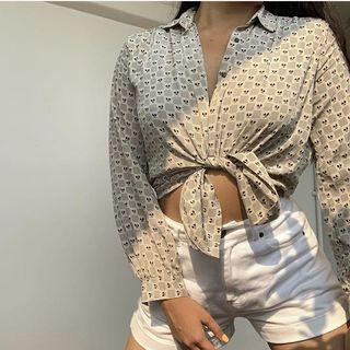 Patterned Button Up Blouse