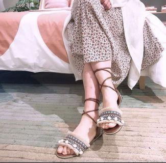 降價  全新🆕 波西米亞民族風-流蘇織帶毛球涼鞋