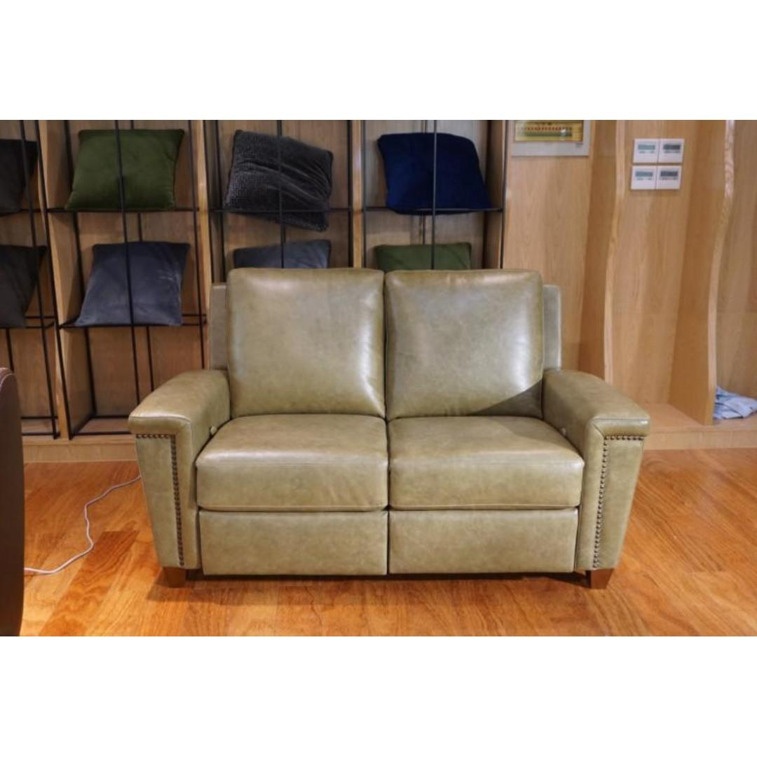 2 seater power leather recliner in high quality top grain