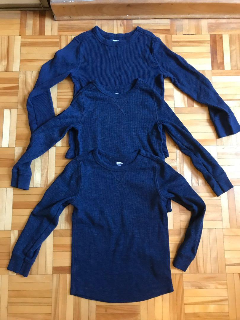 3 Long sleeve navy shirts for boys of 5 years